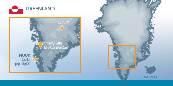 On Ice Stream Flow Data Greenland Map | YSI