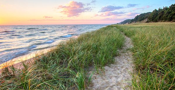 Sand Trail Along the Shoreline of Lake Michigan