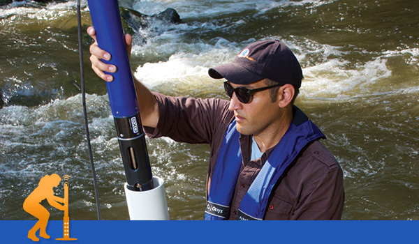 Water Quality Sonde in deployment tube