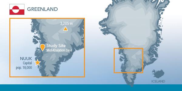 On Ice Stream Flow Data Greenland Map | YSI