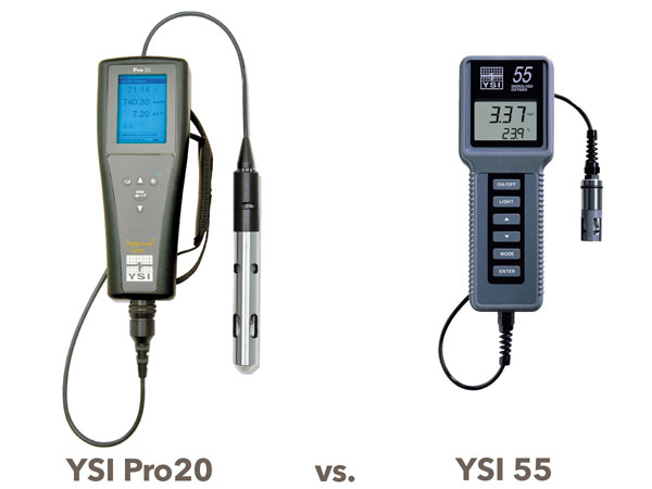 YSI Pro20 Meter vs the YSI Model 55